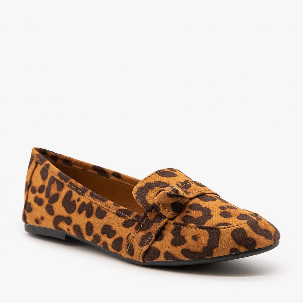 Womens Cute Slip On Loafers - Bamboo Shoes - Leopard / 5