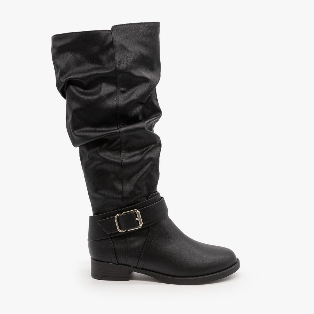 Womens Cute Slouchy Buckle Boots - Soda Shoes - Black / 5
