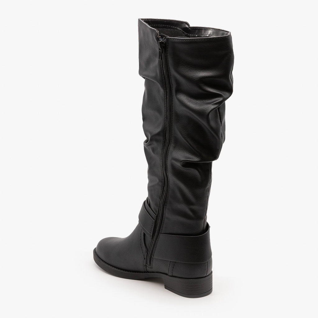 Womens Cute Slouchy Buckle Boots - Soda Shoes