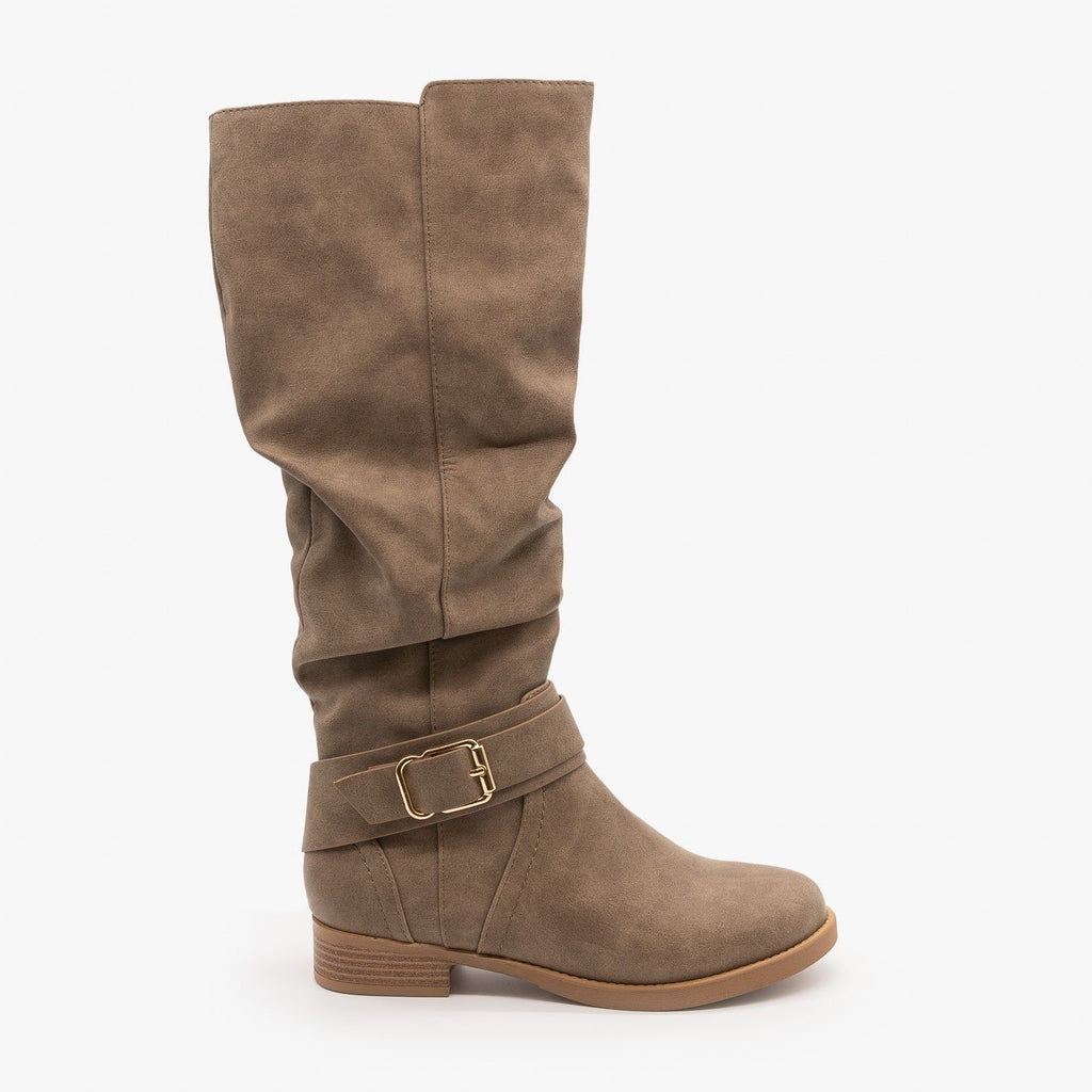 Womens Cute Slouchy Buckle Boots - Soda Shoes - Taupe / 5