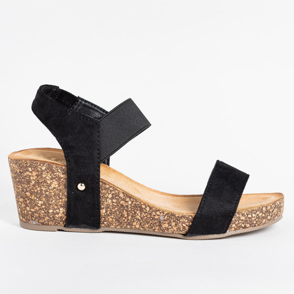 Womens Cute Trendy Cork Wedges - Bella Marie - Black / 5