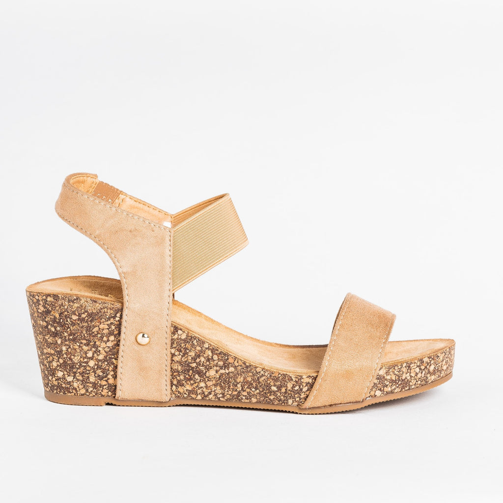Womens Cute Trendy Cork Wedges - Bella Marie - Natural / 5