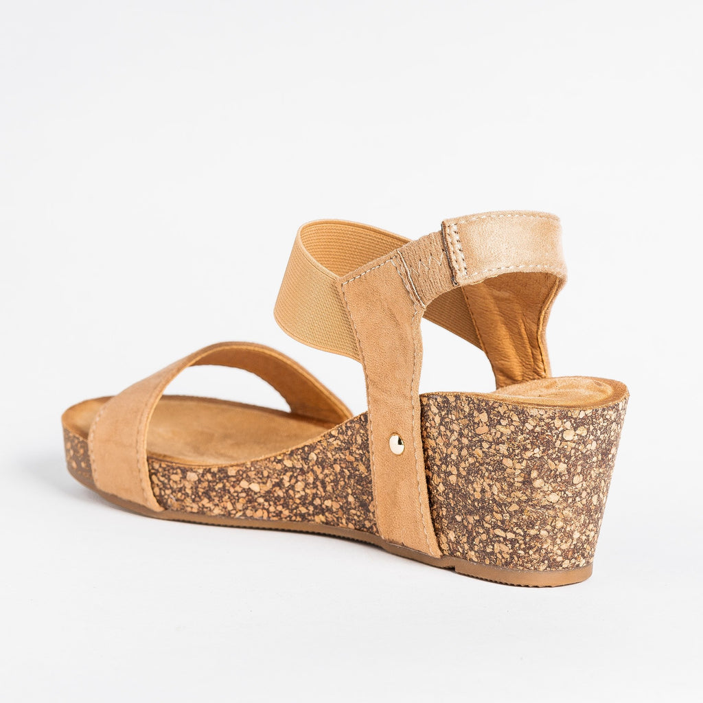 Womens Cute Trendy Cork Wedges - Bella Marie