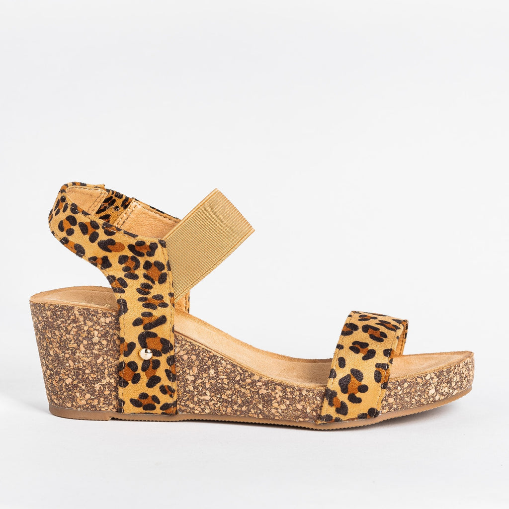 Womens Cute Trendy Cork Wedges - Bella Marie - Leopard / 5