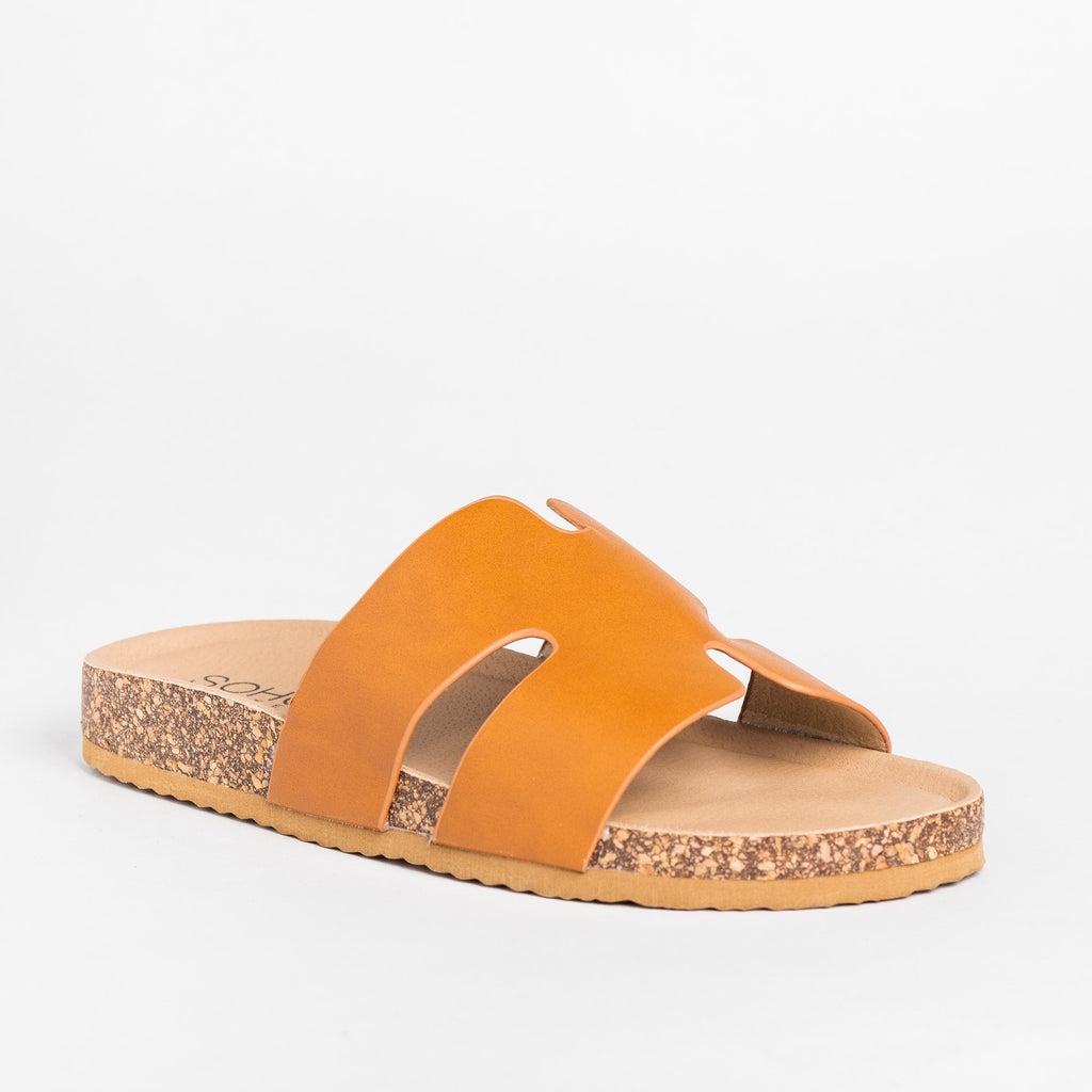 Womens Cutout Comfy Cork Slides - Soho Girls - Tan / 5