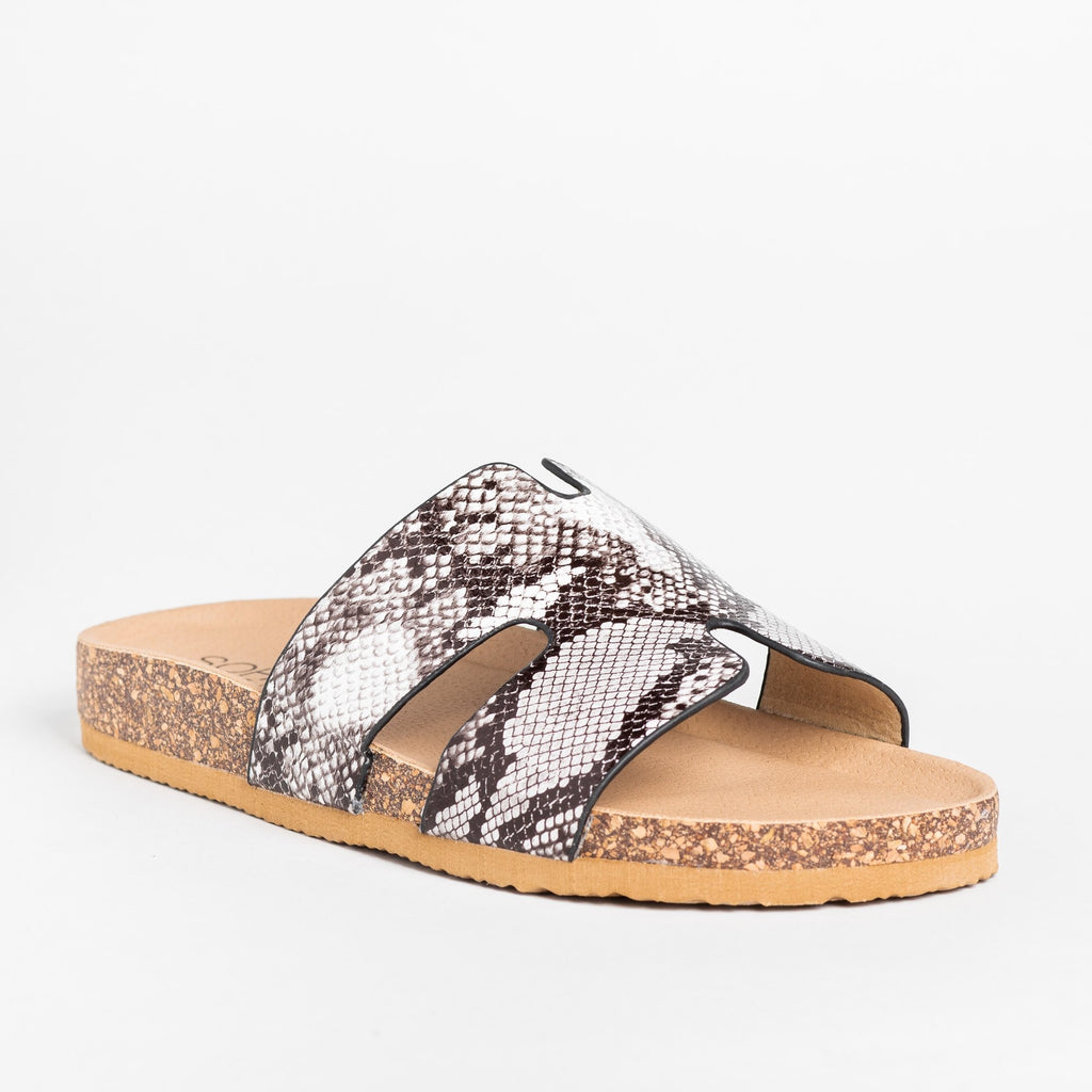 Womens Cutout Comfy Cork Slides - Soho Girls - Snake / 5