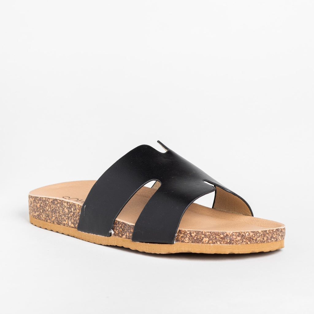 Womens Cutout Comfy Cork Slides - Soho Girls - Black / 5