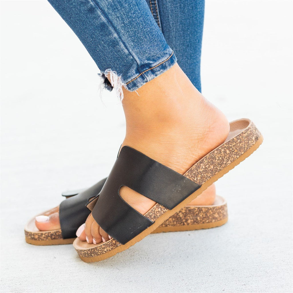 Womens Cutout Comfy Cork Slides - Soho Girls