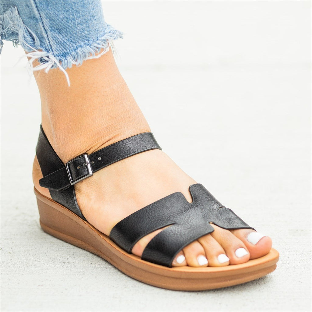 Womens Cutout Comfy Sole Sandal Wedges - Nature Breeze - Black / 5