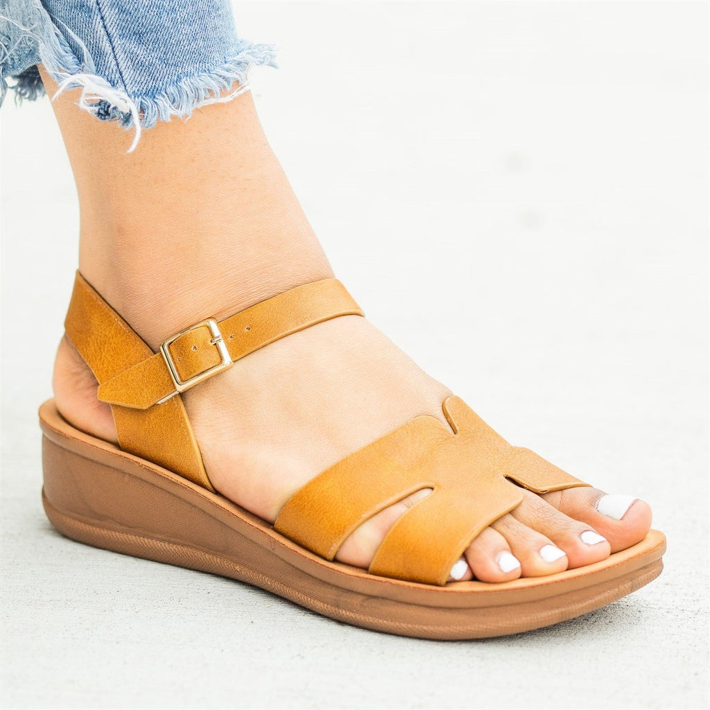 Womens Cutout Comfy Sole Sandal Wedges - Nature Breeze - Camel / 5