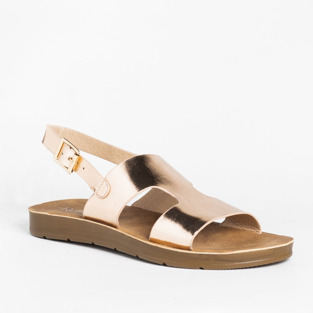 Womens Cutout Fashion Sandals - Refresh - Rose Gold / 5