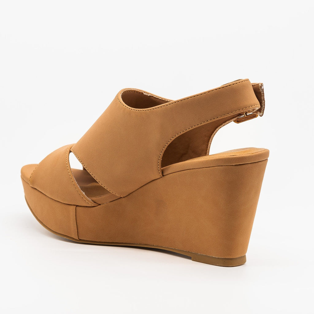 Womens Cutout Slingback Wedges - Bamboo Shoes