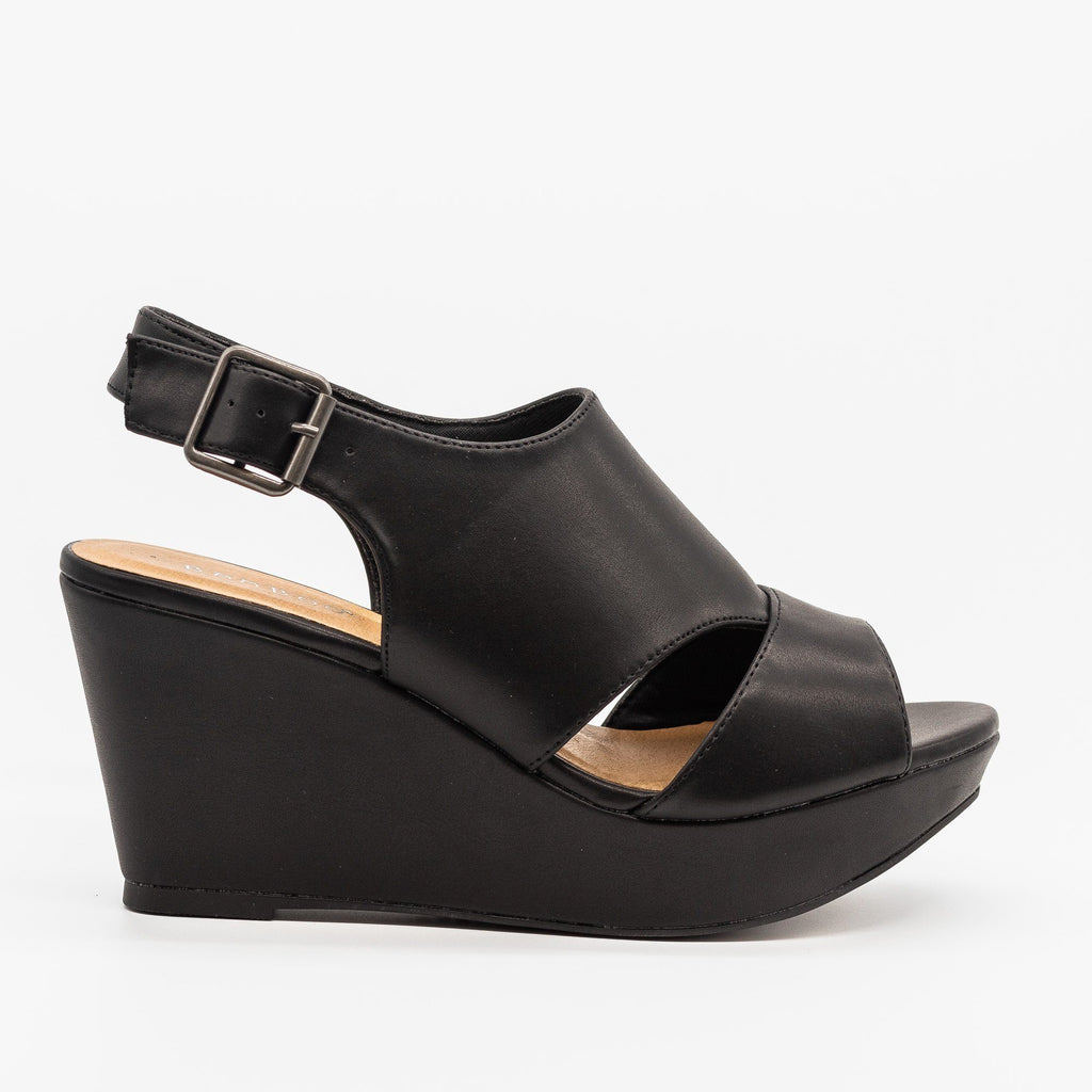 Womens Cutout Slingback Wedges - Bamboo Shoes - Black Faux Leather / 5