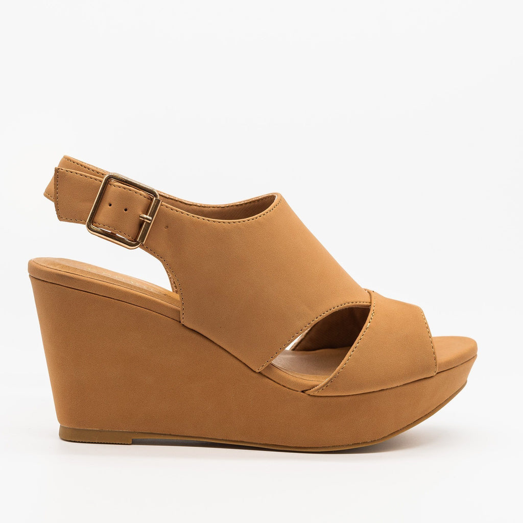 Womens Cutout Slingback Wedges - Bamboo Shoes - Natural / 5