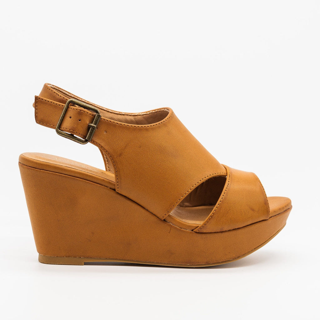 Womens Cutout Slingback Wedges - Bamboo Shoes - Camel / 5
