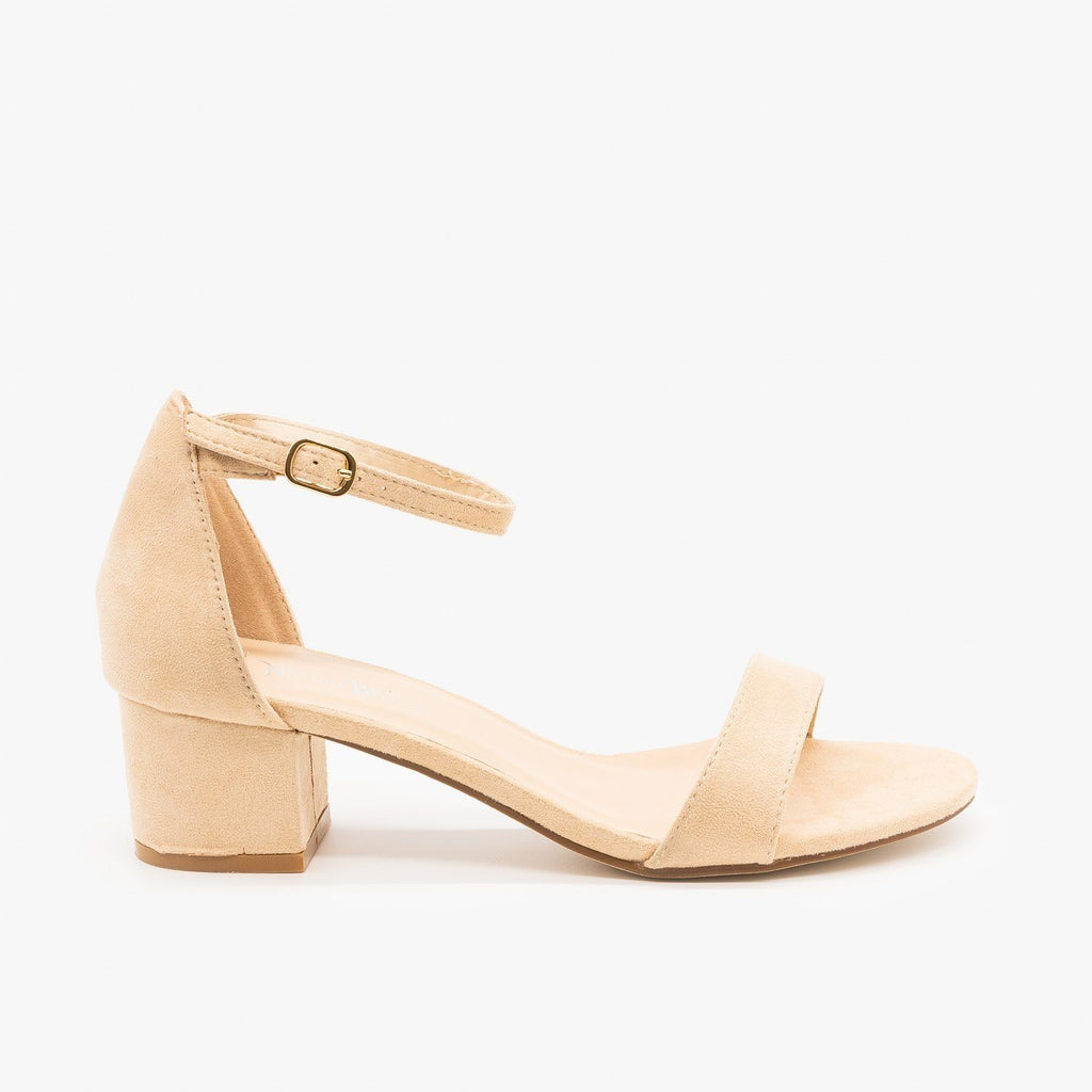 Womens Dainty Ankle Strap Block Heels - Nature Breeze - Beige / 5
