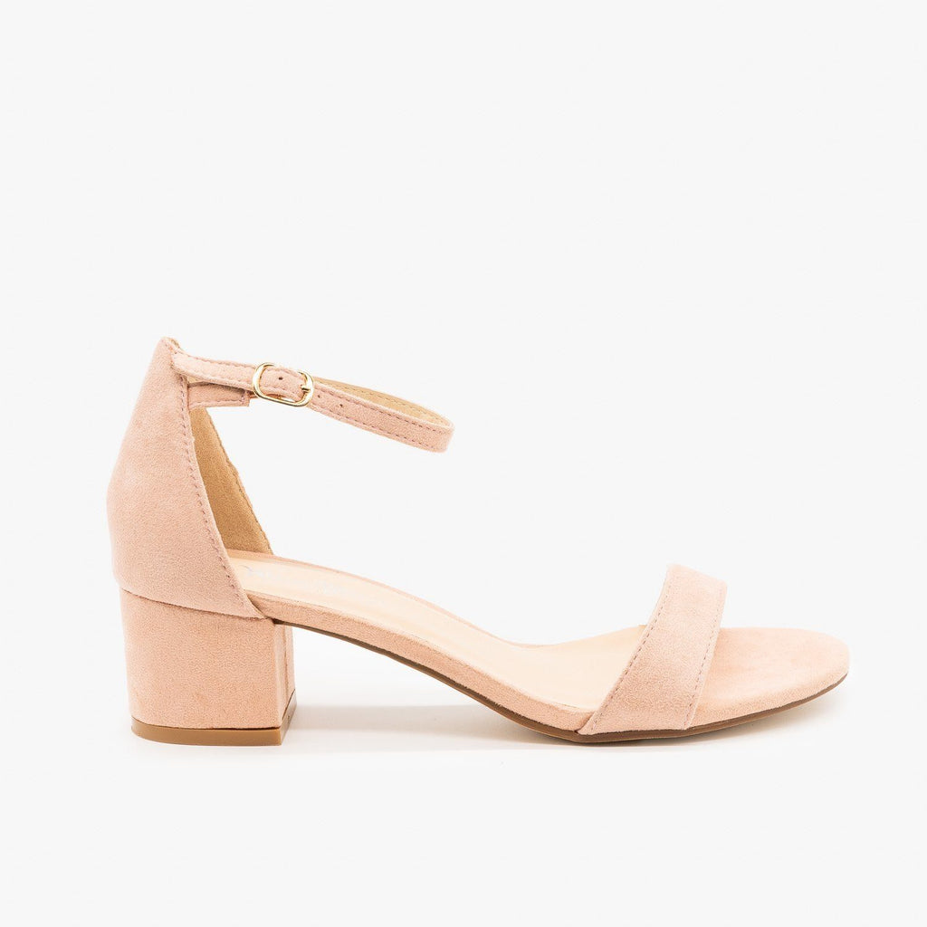 Womens Dainty Ankle Strap Block Heels - Nature Breeze - Pink / 5