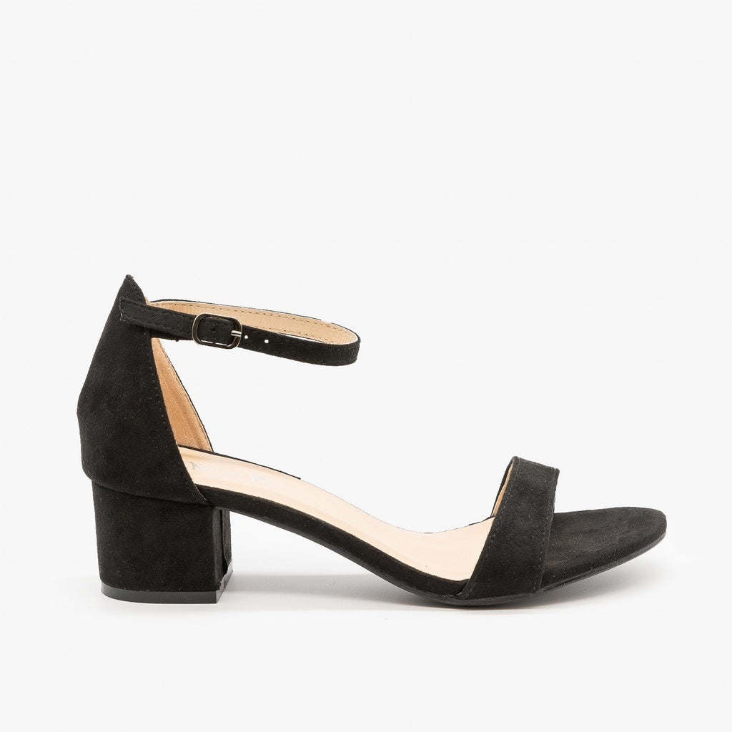 Womens Dainty Ankle Strap Block Heels - Nature Breeze - Black / 5