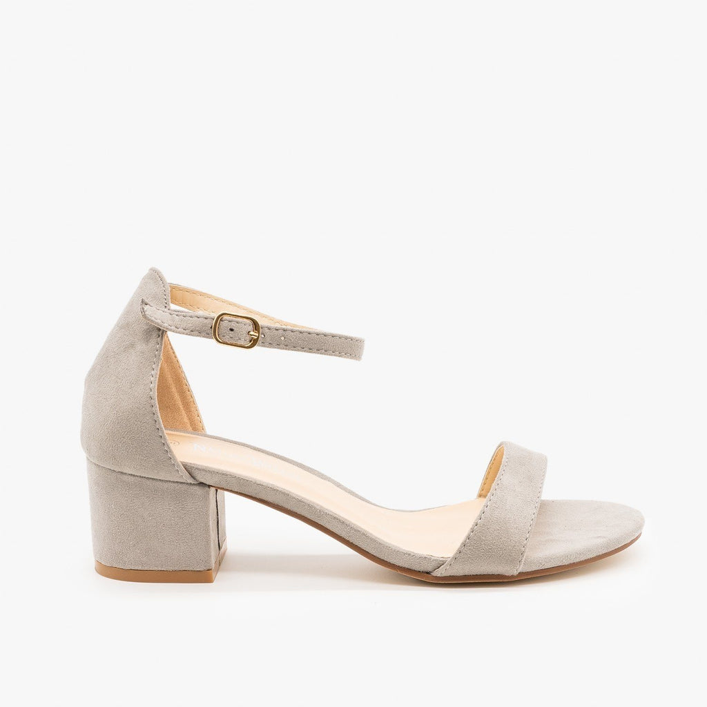 Womens Dainty Ankle Strap Block Heels - Nature Breeze - Gray / 5