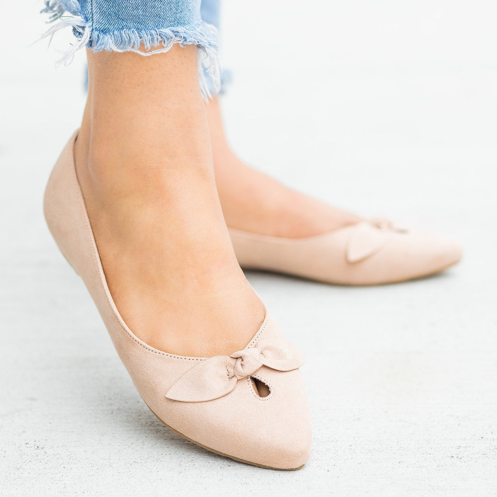 Womens Dainty Bow Pointed Toe Flats - Bamboo Shoes