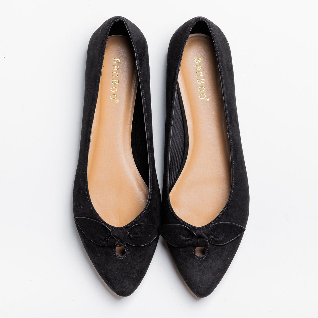 Womens Dainty Bow Pointed Toe Flats - Bamboo Shoes - Black / 5