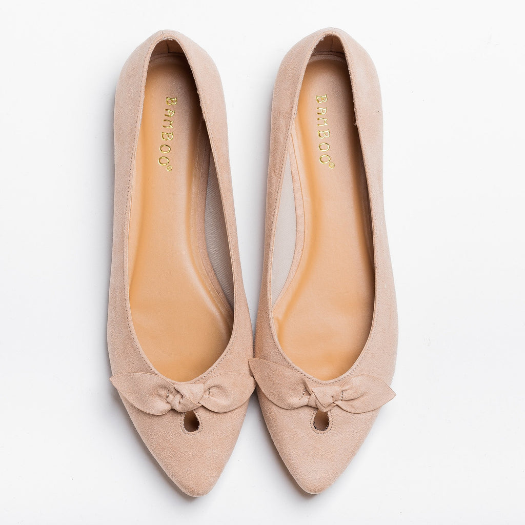 Womens Dainty Bow Pointed Toe Flats - Bamboo Shoes - Nude / 5