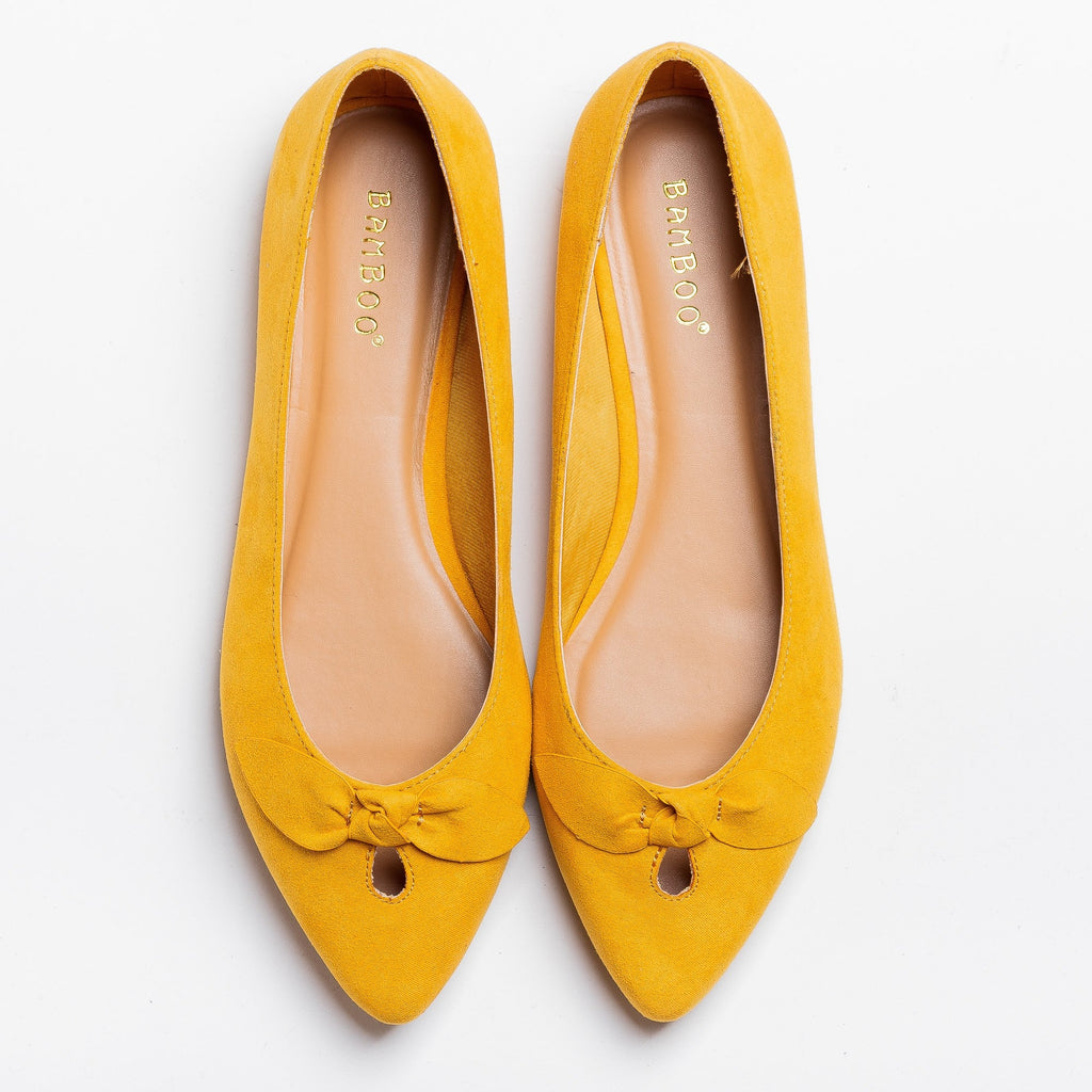 Womens Dainty Bow Pointed Toe Flats - Bamboo Shoes - Marigold / 5