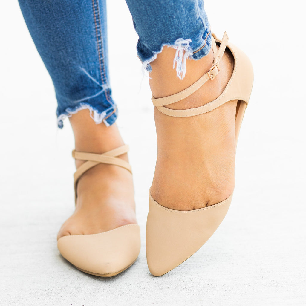 Womens Dainty Criss Cross Ankle Strap Flats - Bamboo Shoes - Nude / 5