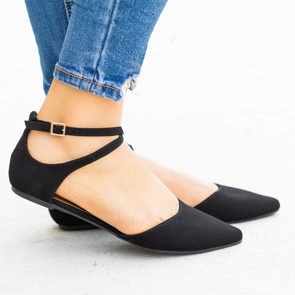 Womens Dainty Criss Cross Ankle Strap Flats - Bamboo Shoes