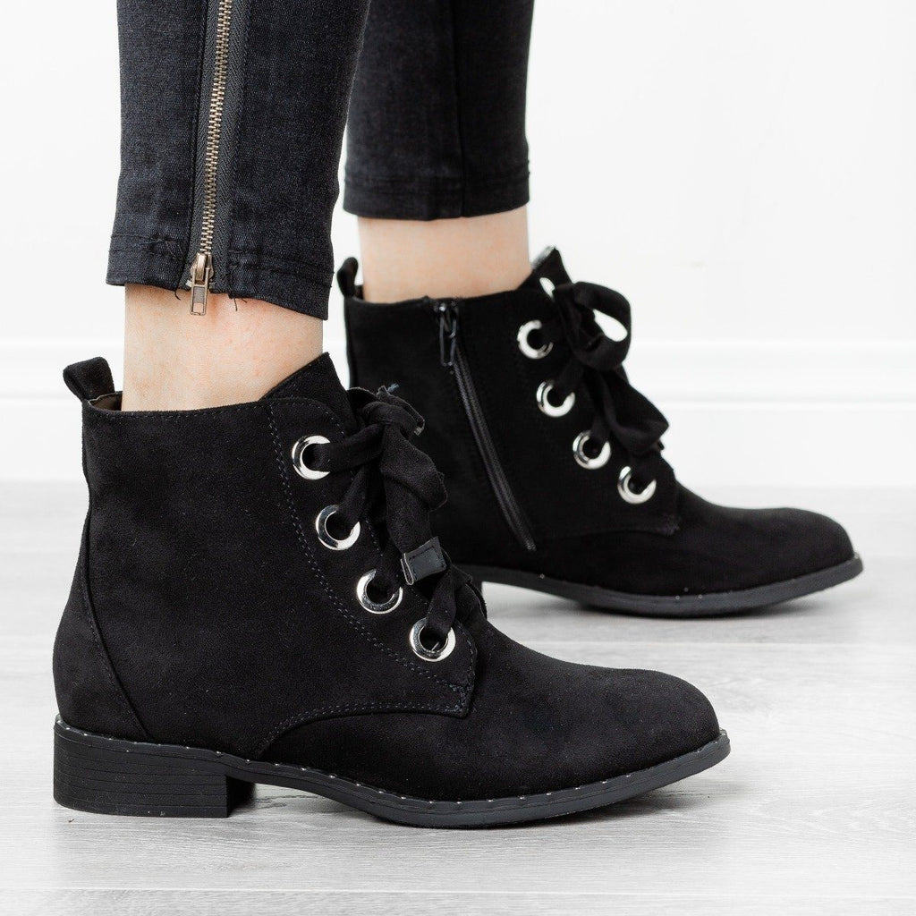 Womens Dainty Stud Lace-Up Booties - Refresh - Black / 5