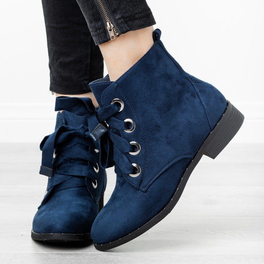 Womens Dainty Stud Lace-Up Booties - Refresh - Navy / 5