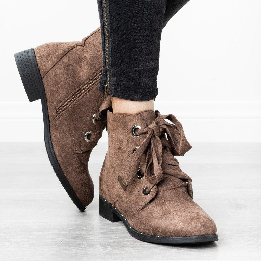 Womens Dainty Stud Lace-Up Booties - Refresh - Stone / 5