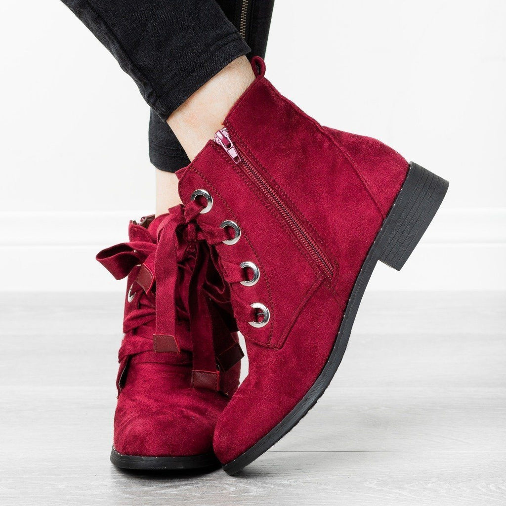 Womens Dainty Stud Lace-Up Booties - Refresh - Wine / 5