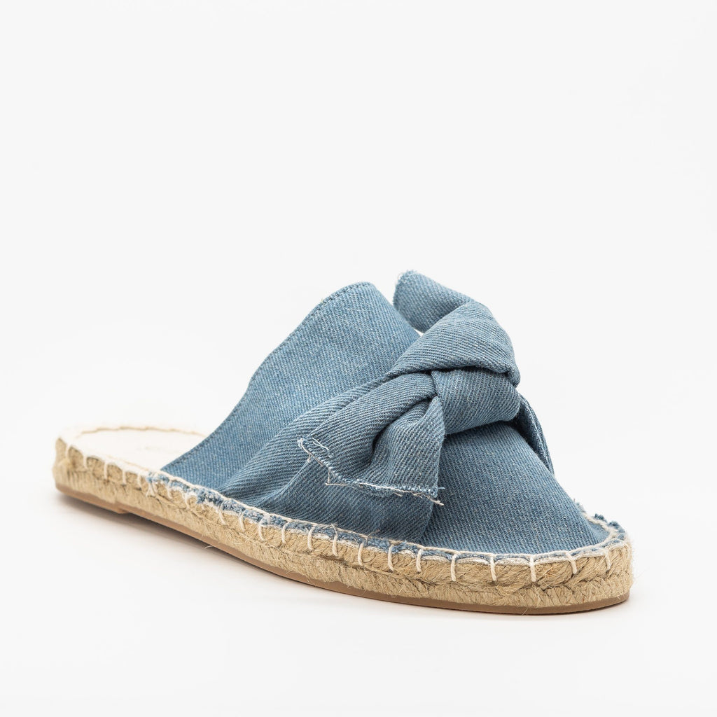 Womens Denim Espadrille Mule Flats - Soho Girls - Light Denim / 5
