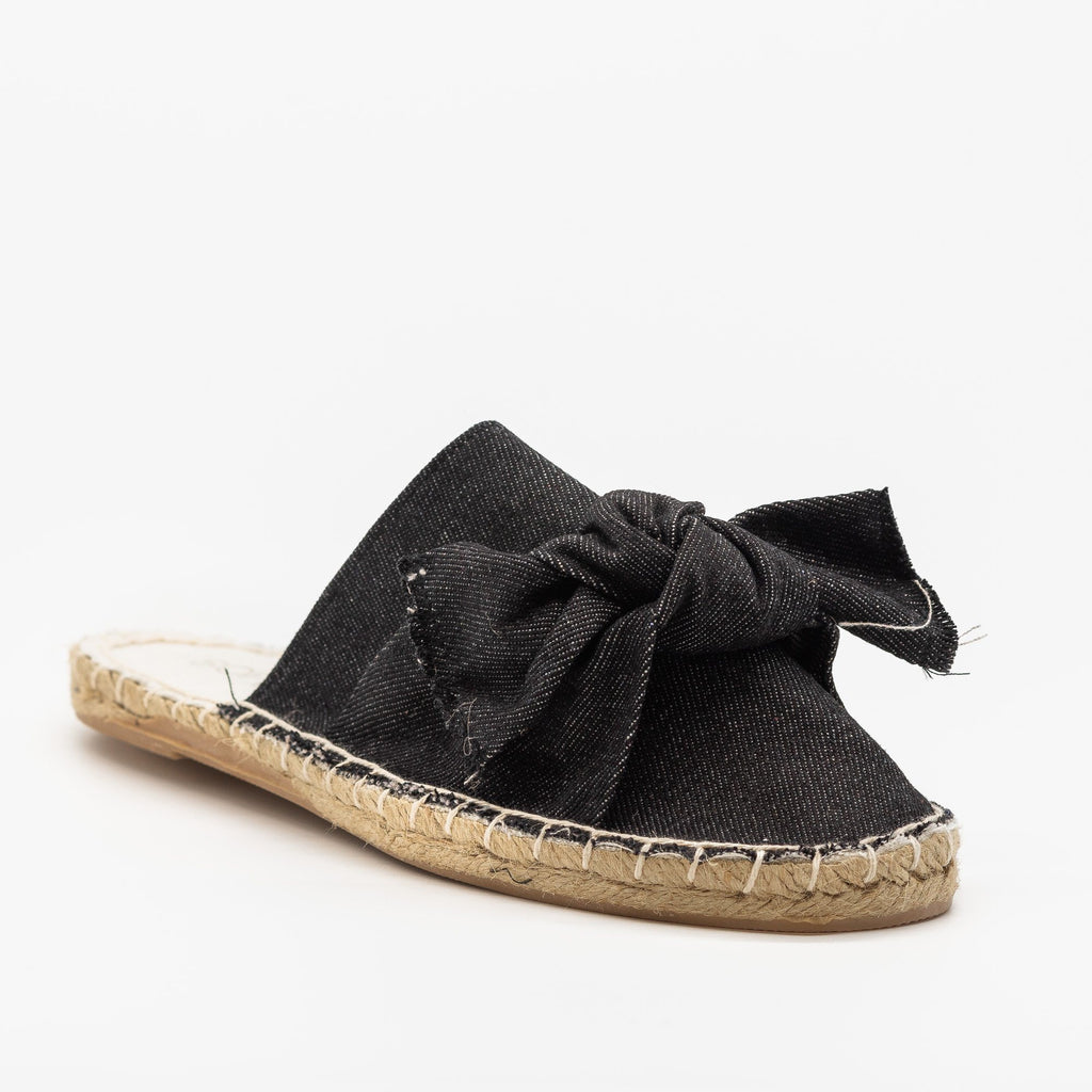 Womens Denim Espadrille Mule Flats - Soho Girls - Black Denim / 5