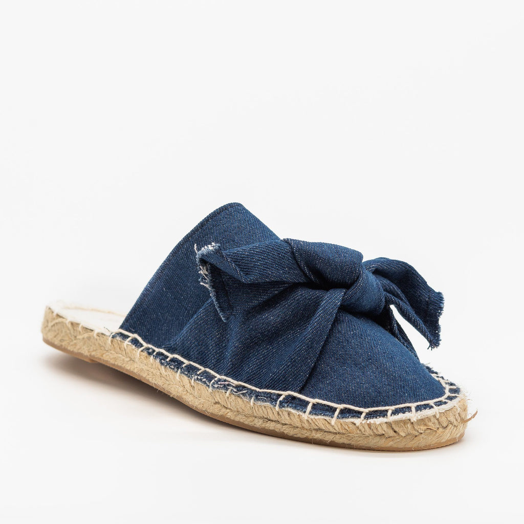Womens Denim Espadrille Mule Flats - Soho Girls - Dark Denim / 5