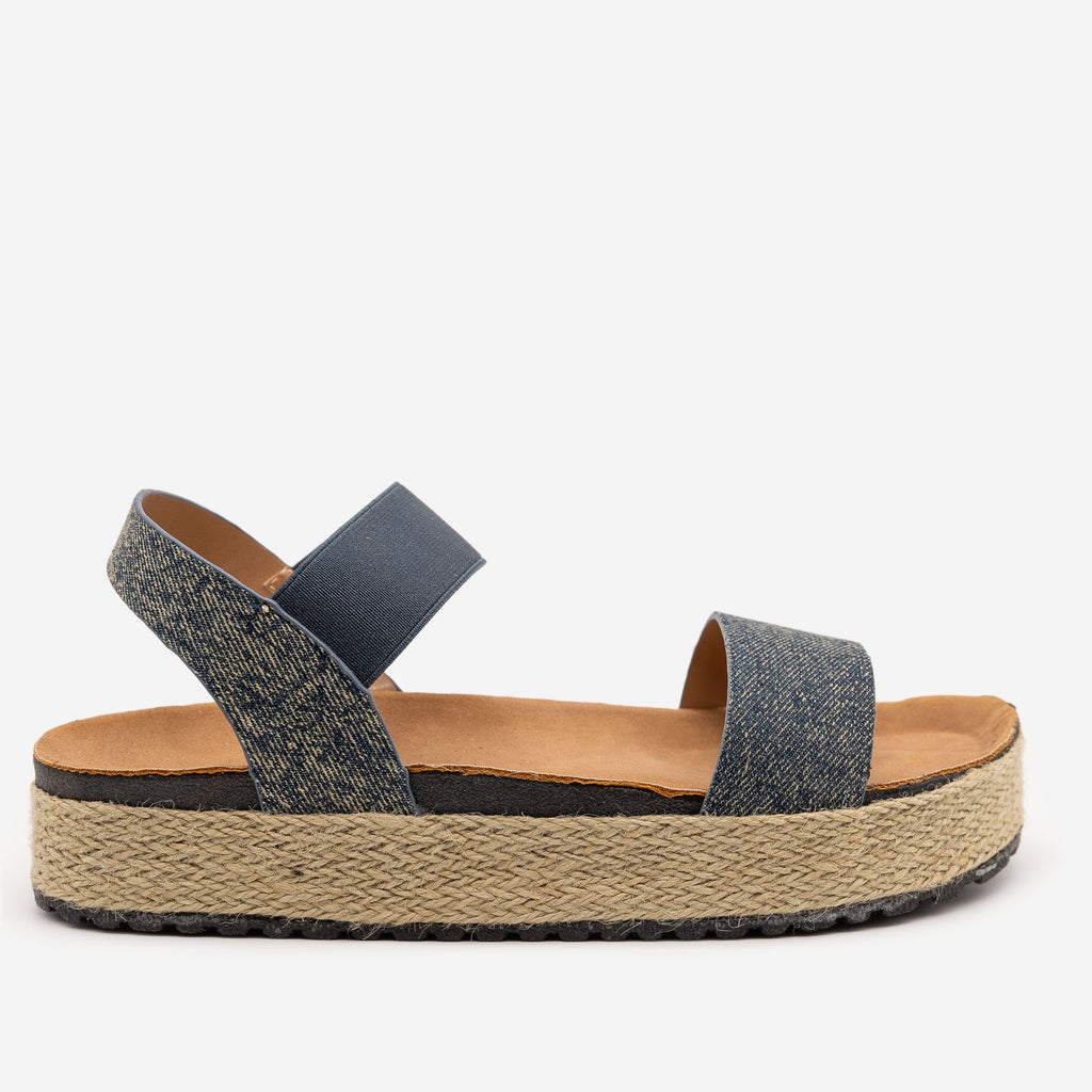 Women's Denim Espadrille Slingback Sandals - Olivia Miller - Denim / 5