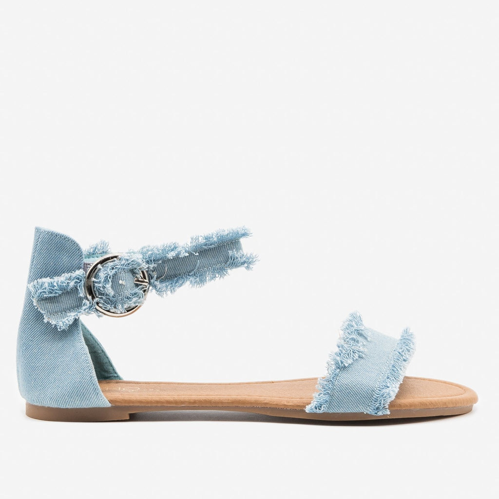 Women's Denim Fringe Sandals - Unbranded/Generic - Light Blue Denim / 5