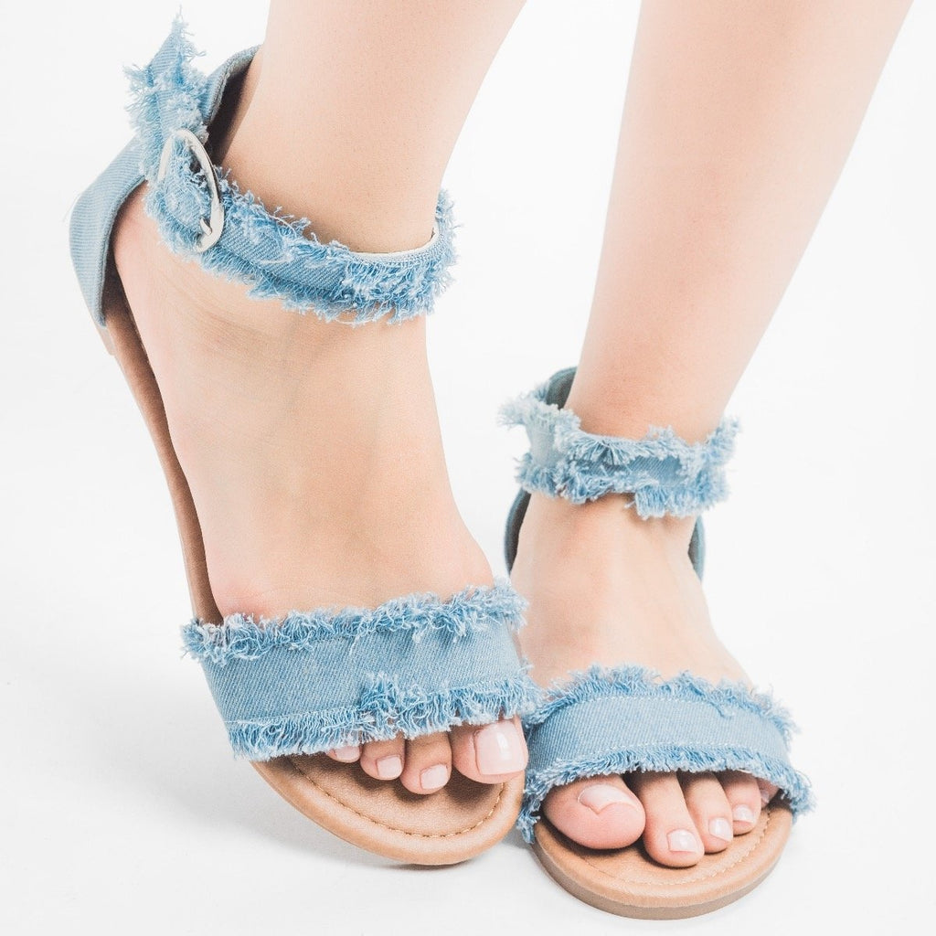 Womens Denim Fringe Sandals - Unbranded/Generic - Light Blue Denim / 5