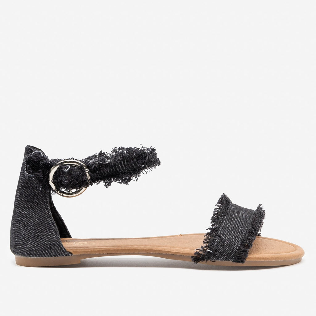 Women's Denim Fringe Sandals - Unbranded/Generic - Black Denim / 5