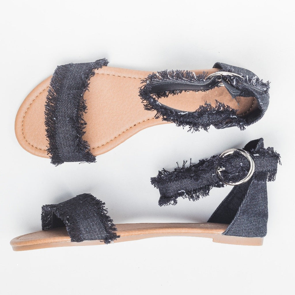 Womens Denim Fringe Sandals - Unbranded/Generic - Black Denim / 5