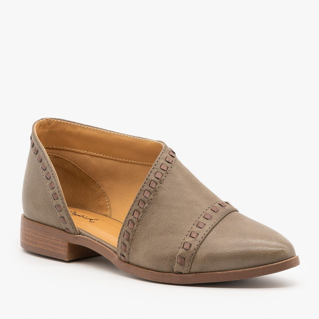 Womens Designer Cut Stitched Flats - Qupid Shoes - Taupe / 5