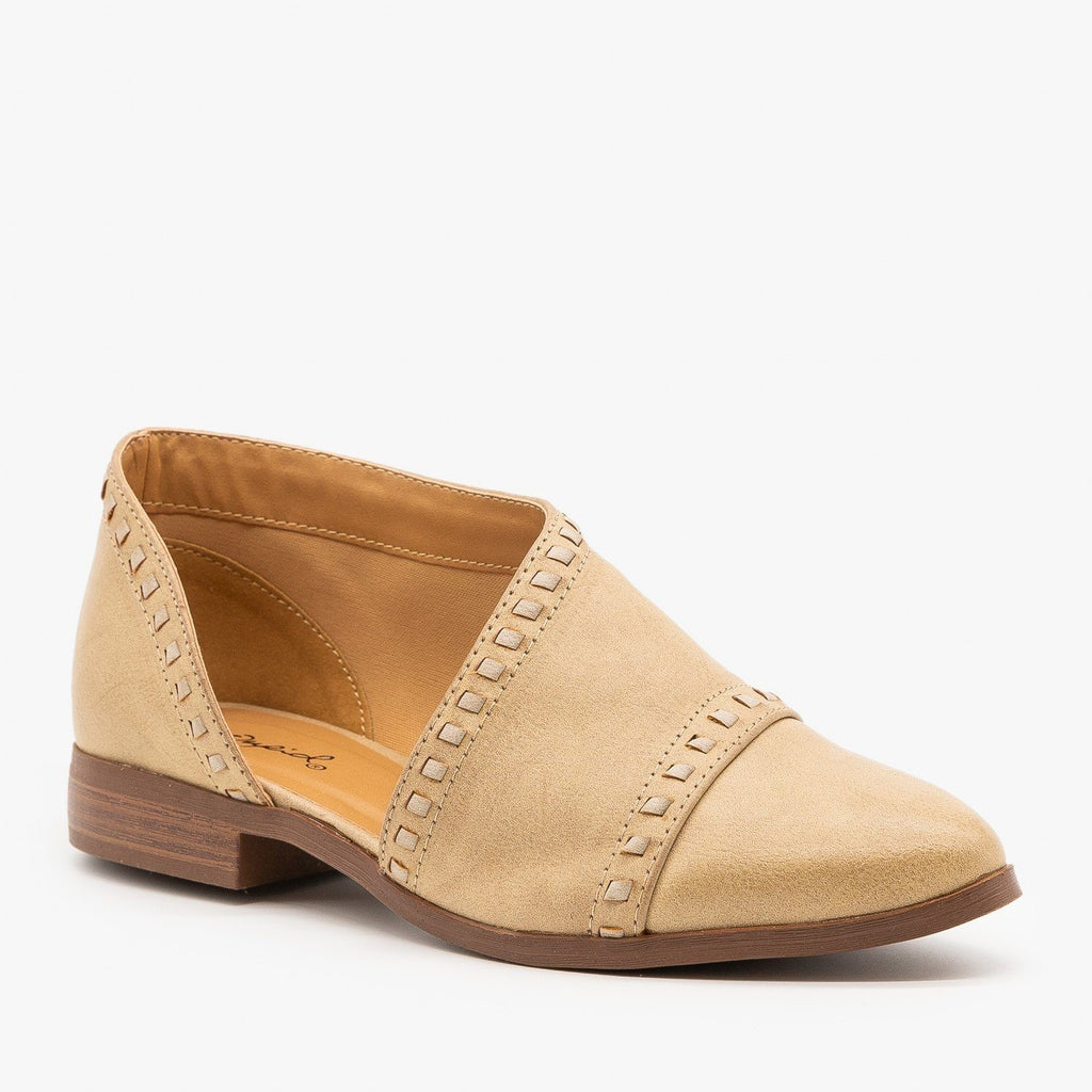Womens Designer Cut Stitched Flats - Qupid Shoes - Tan / 5