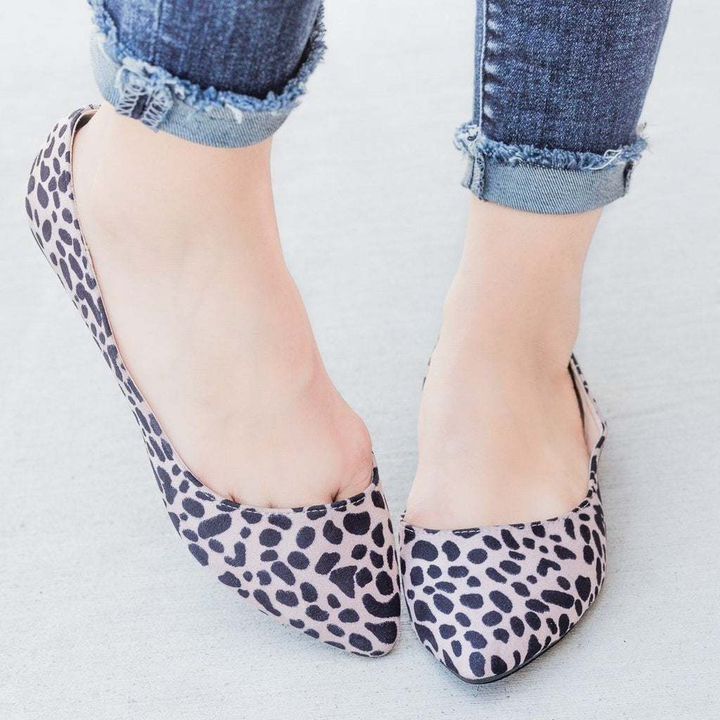 Womens Designer Style DOrsay Flats - Qupid Shoes - Leopard / 5