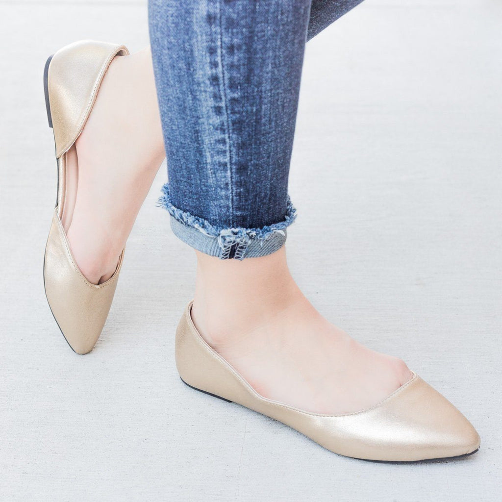 Womens Designer Style DOrsay Flats - Qupid Shoes