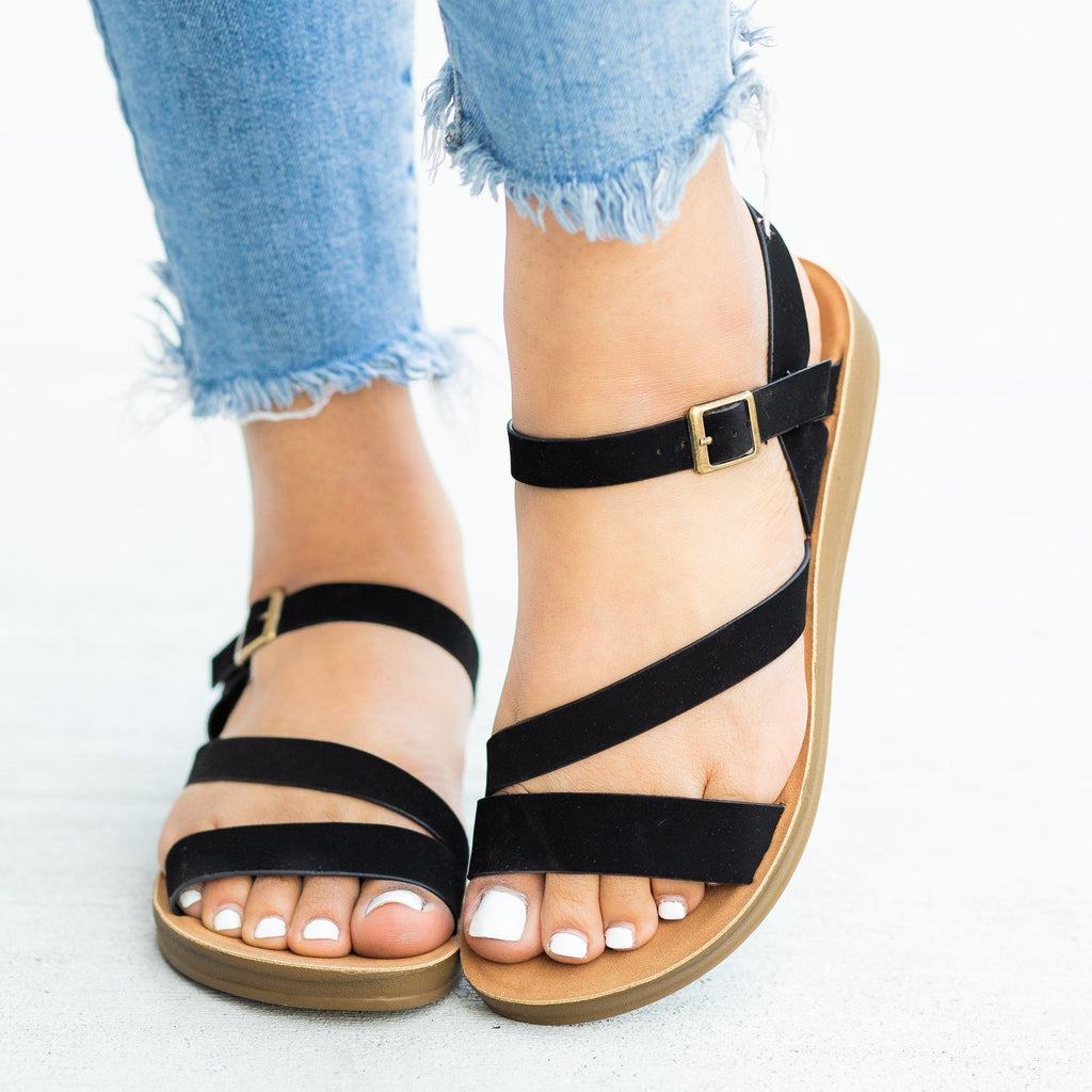 Womens Diagonal Strap Buckled Sandals - Bella Marie