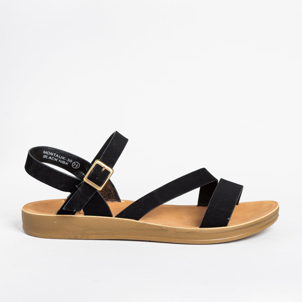 Womens Diagonal Strap Buckled Sandals - Bella Marie - Black / 5