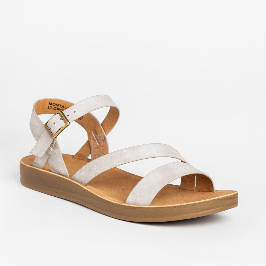 Womens Diagonal Strap Buckled Sandals - Bella Marie - Light Gray / 5