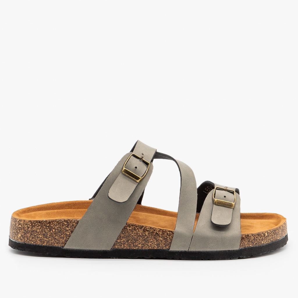 Womens Diagonal Strap Buckled Sandals - Refresh - Gray / 5
