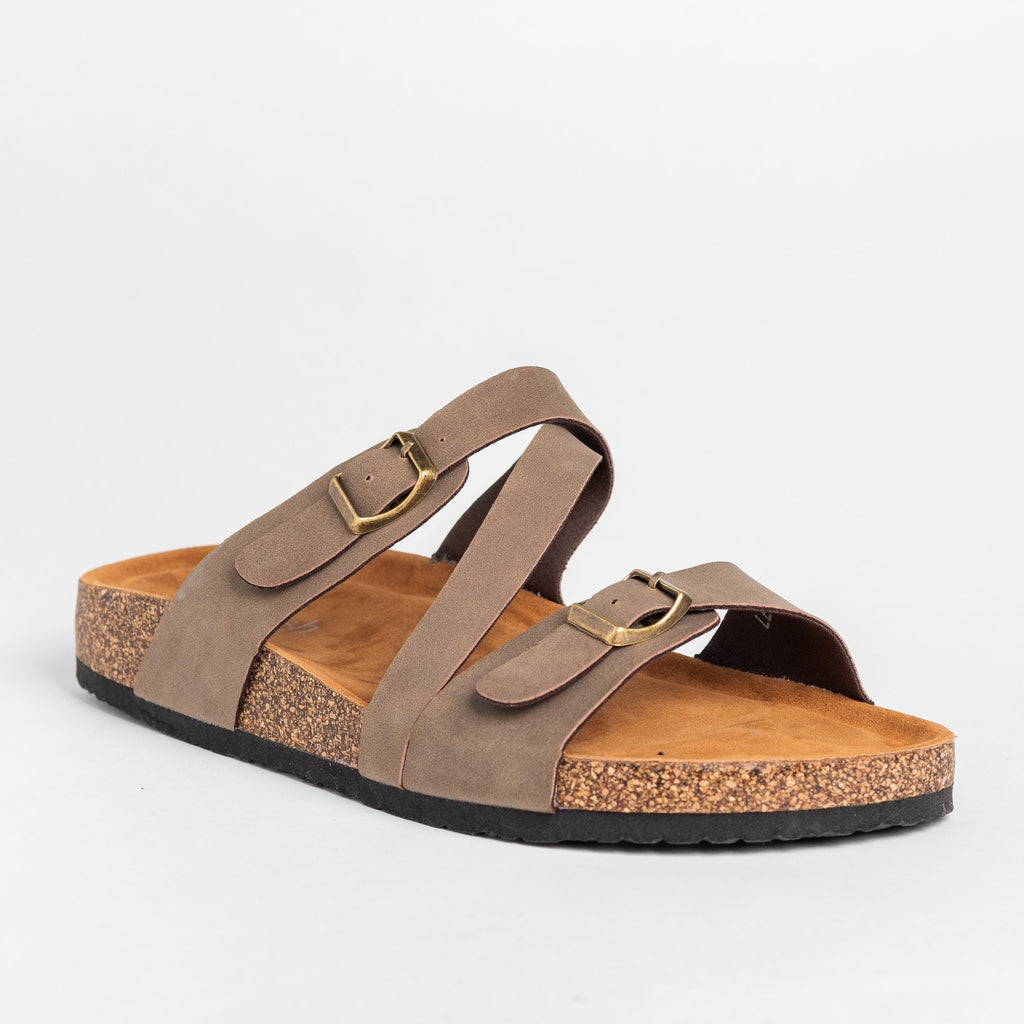 Womens Diagonal Strap Buckled Sandals - Refresh - Mocha / 5
